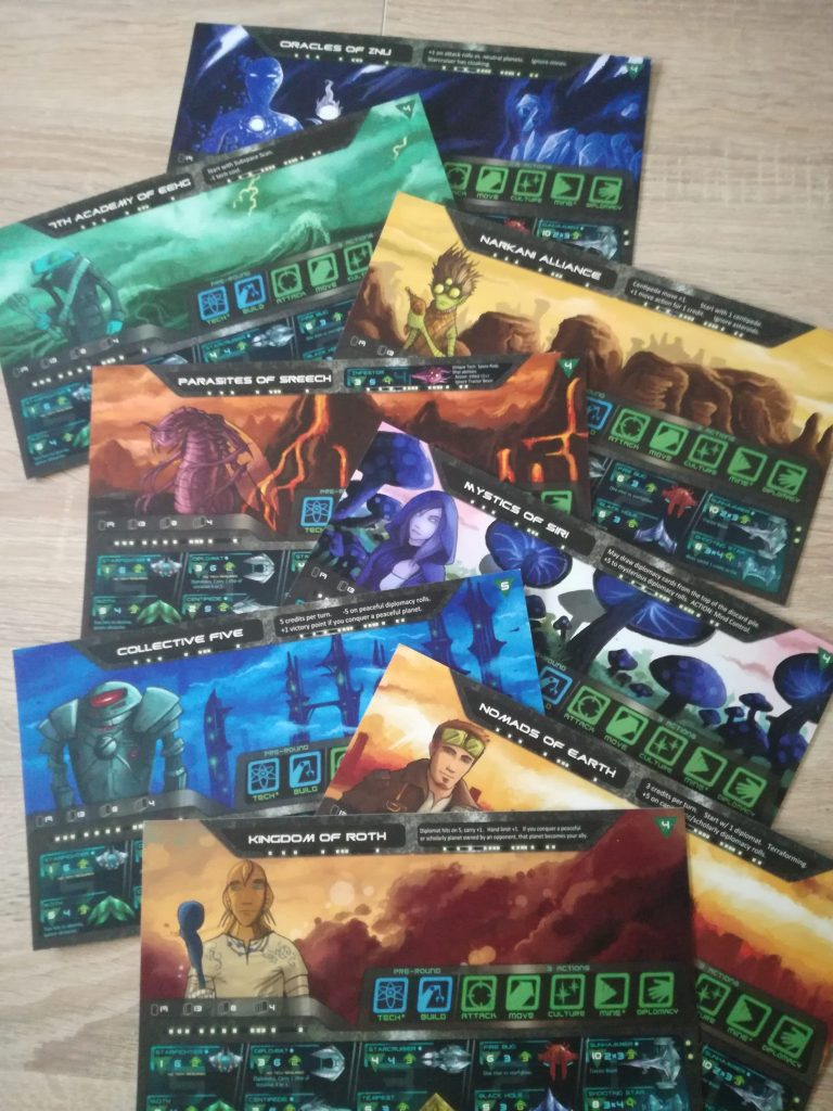 Every player receives a race card and places his home planet in the middle of his starting tile.